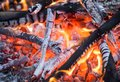 The fire. Hot coals. Flames. Royalty Free Stock Photo