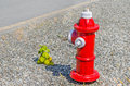 Fire hydrant along a road Royalty Free Stock Photo