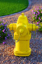 Fire hydrant big bright yellow Royalty Free Stock Photography