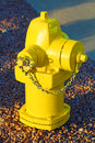 Fire hydrant big bright yellow Stock Photography