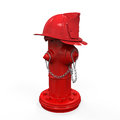 Fire hydrant with fireman hat isolated on white background d render Stock Photo