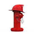 Fire hydrant with fireman hat isolated on white background d render Stock Photos