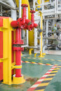 Fire hydrant , hose connection ,fire fighting equipment for fire fighter in oil and gas platform Royalty Free Stock Photo