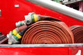 Fire hydrant hose on truck Royalty Free Stock Images