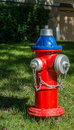 Fire hydrant old red and blue in a front yard Royalty Free Stock Photography