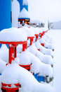 Fire hydrants in the snow at the factory Royalty Free Stock Photo