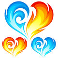 Fire and Ice vector hearts. Symbol of love Stock Photos