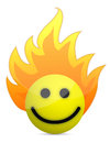 Fire icon with happy face Royalty Free Stock Photography