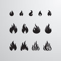 Fire Icon Vector Set Royalty Free Stock Photo