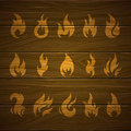 Fire icons illustration of abstract on a wooden background Royalty Free Stock Photography