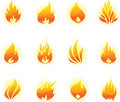 Fire icons set Stock Photo