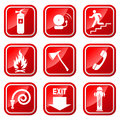 Fire icons vector set for prevention Stock Image