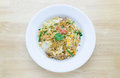 Fire instant noodle on white plate Royalty Free Stock Photo