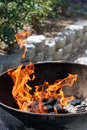 Fire in kettle barbecue grill Royalty Free Stock Images