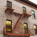 Fire ladder of an old house in New York Royalty Free Stock Photo