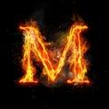 Fire letter M of burning flame light