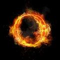 Fire letter O of burning flame light
