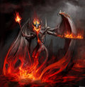 Fire lord rising from magma Royalty Free Stock Photography