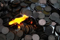 Fire and money photo of Stock Photo