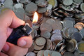 Fire and money photo of Royalty Free Stock Photos