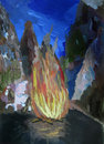 Fire in the mountains and pegasus children s art Royalty Free Stock Photo