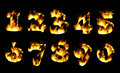 Fire number, figures in flame. Part 6 Royalty Free Stock Photo