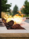 Fire in Outdoor Fire Pit Royalty Free Stock Photo