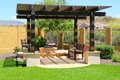 Fire pit beautiful outdoor constructed with colorful stucco Stock Photography