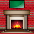 Fire place with blank message board vector Stock Photos