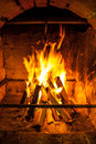 Fire place with burning flame Royalty Free Stock Photos