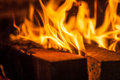 Fire place with burning flame Royalty Free Stock Image