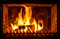Fire place flames of burning in Royalty Free Stock Photo