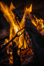 Fire place with flames during summer party in the country Stock Images