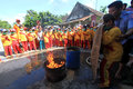 Fire quench elementary level school students sdii al abidin learn to extinguish the in solo central java indonesia thursday Royalty Free Stock Photography