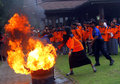 Fire quench firefighters trained student teams to put out the in solo central java indonesia Stock Photography