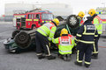 Fire and Rescue service at car crash training Royalty Free Stock Photo