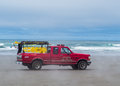 Fire and rescue truck on beach seaside oregon Royalty Free Stock Images