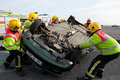 Fire and Rescue unit at car crash training Royalty Free Stock Photo