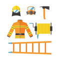 Fire safety equipment emergency tools firefighter safe danger accident flame protection vector illustration.
