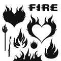 Fire set isolated objects on white background vector illustration eps Stock Photography