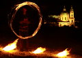 Fire show with church behind Royalty Free Stock Photos