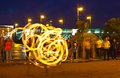 Fire show in night Neva embankment Stock Photo