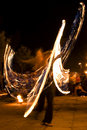 Fire show on timisoara romania june Stock Photo