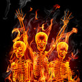 Fire skeletons Royalty Free Stock Image