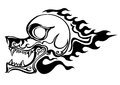 Fire skull illustration cartoon on white background Stock Photography