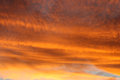 Fire sky with the golden clouds Stock Photo