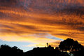 Fire sky with the golden clouds Stock Photography