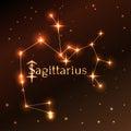 Fire symbol of Sagittarius zodiac sign, horoscope, vector art and illustration. Royalty Free Stock Photo