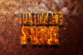 Fire text on red stone background with smoke Stock Image