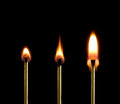Fire (three matches). Royalty Free Stock Photo